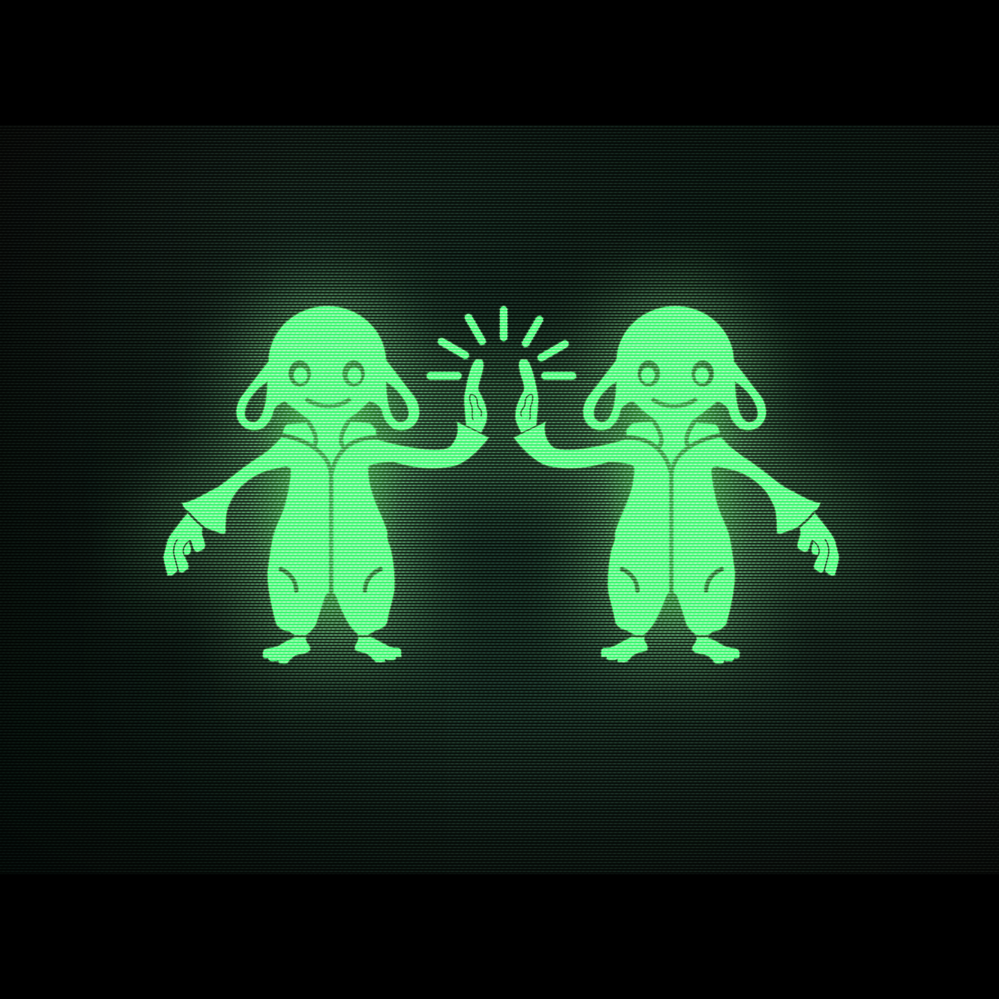 The screen depicts two bipedal lambs in jumpsuits high fiving each other