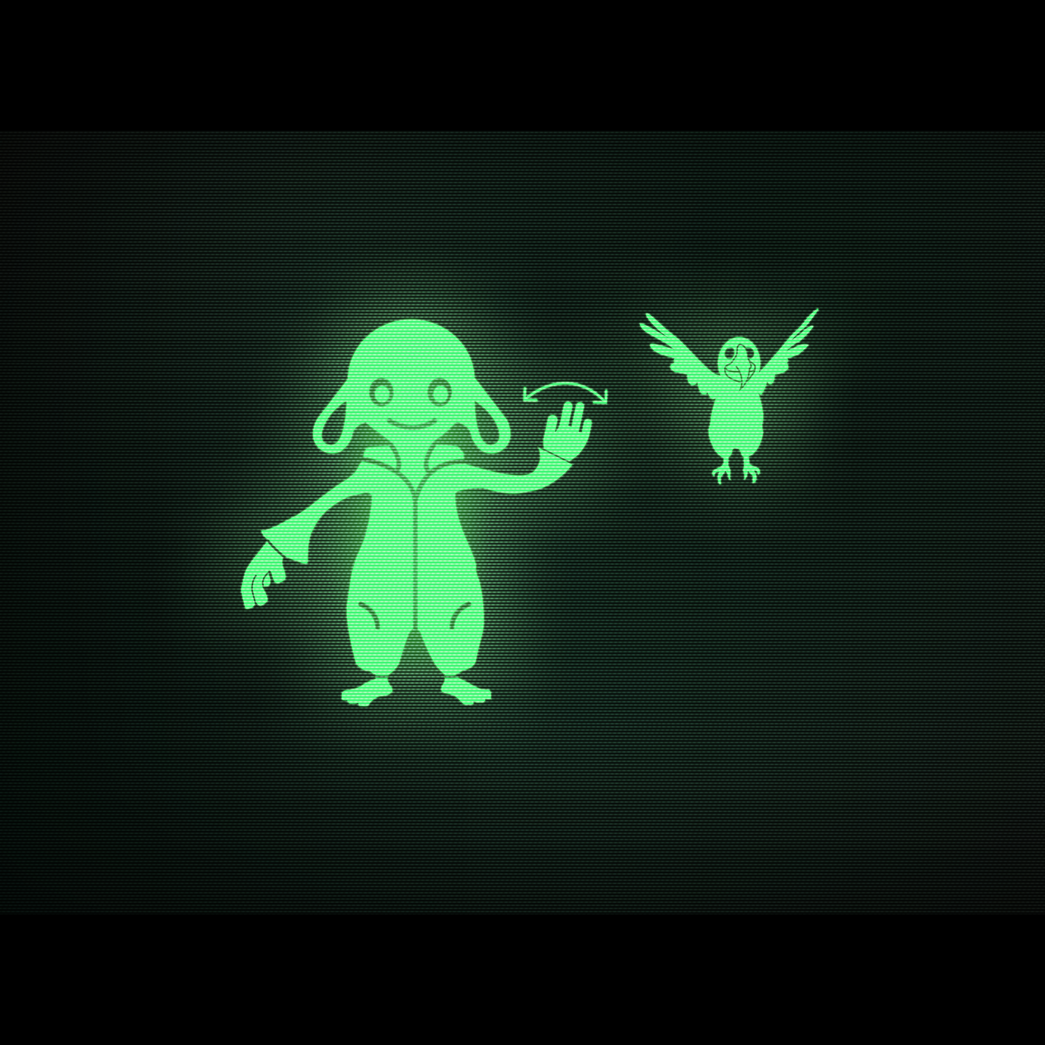 The screen depicts a bipedal lamb waving at a parrot that's flying in the air
