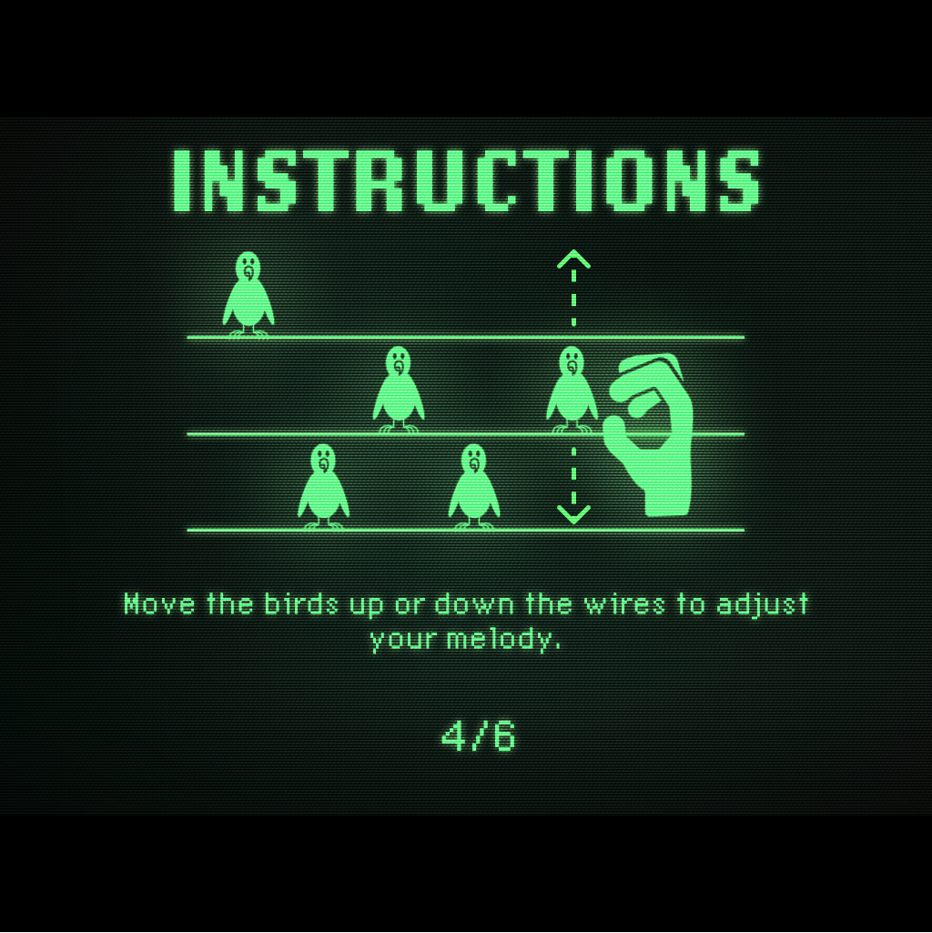 5 birds sitting on different horizontal wires, and a hand is moving a bird from one wire to another