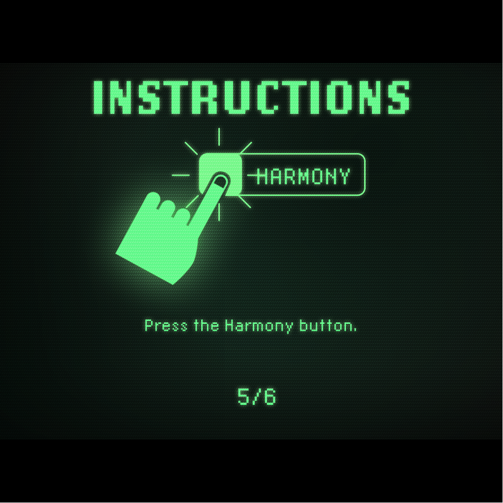 A hand with an index finger outstretched, pushing a button labelled 'harmony'