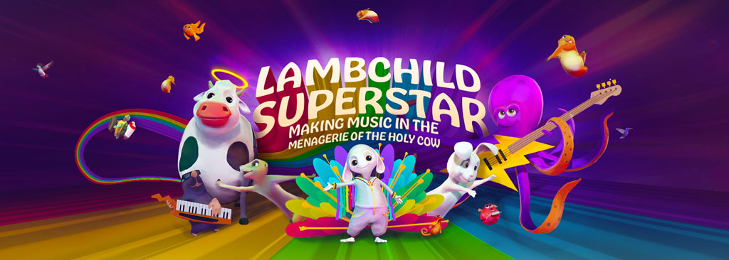 A promo image for Lambchild Superstar. It depicts the lamb standing proudly while the other animals from the musical menagerie are standing around them. Everything is brightly colored.